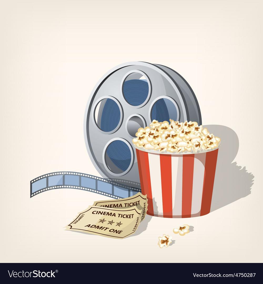 Popcorn box film strip and tickets cinema poster vector | Price: 1 Credit (USD $1)