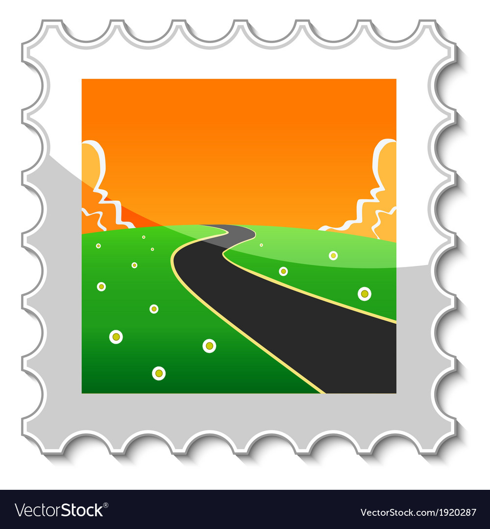 Road into the unknown stamp vector | Price: 1 Credit (USD $1)