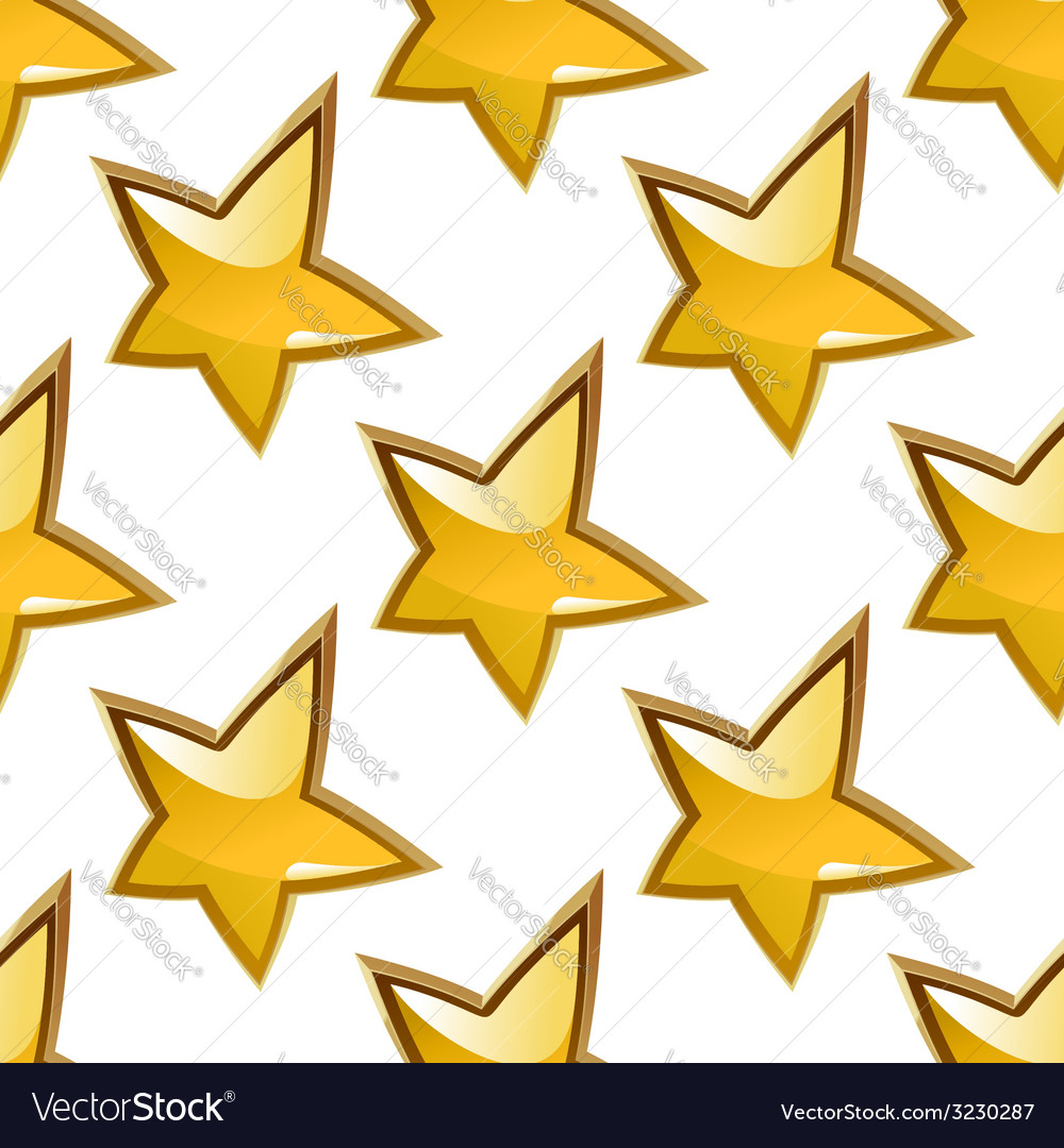Seamless background pattern of glossy gold stars vector | Price: 1 Credit (USD $1)