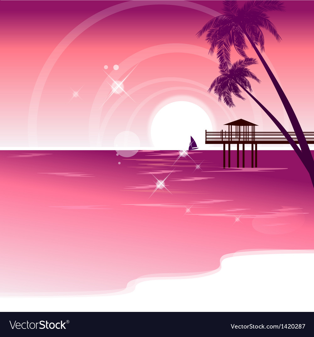 Seaside vacation background vector | Price: 1 Credit (USD $1)
