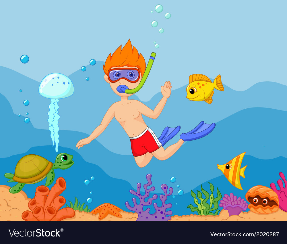 Snorkeling boy cartoon vector | Price: 1 Credit (USD $1)
