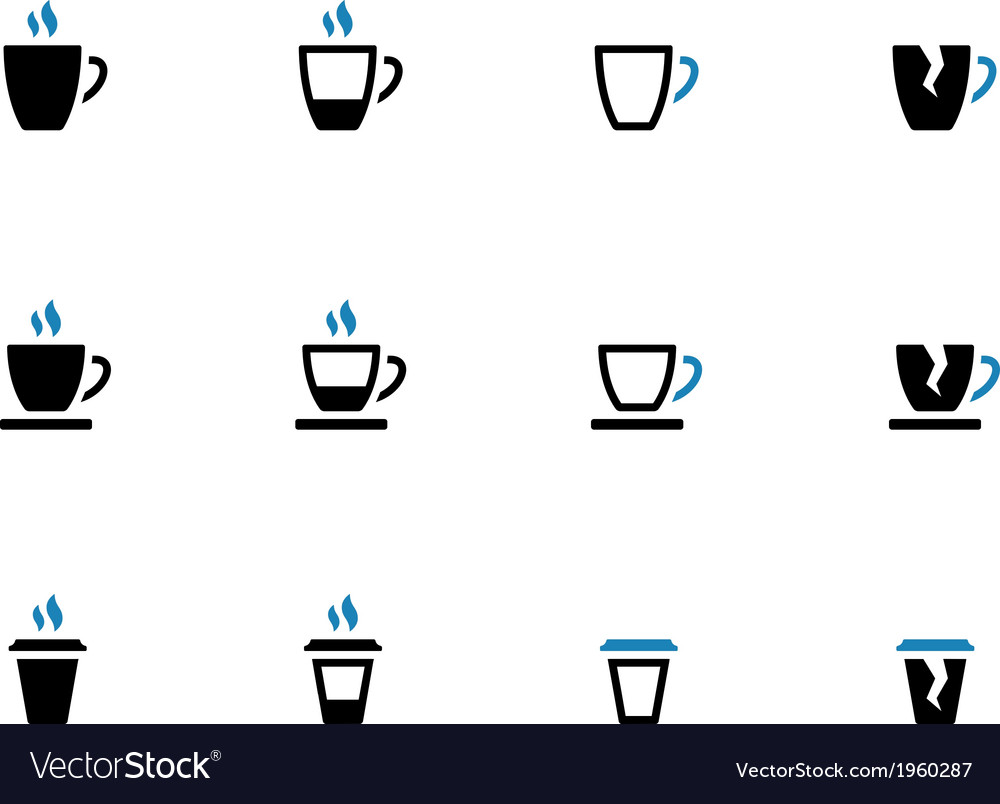 Tea mug and coffee cup duotone icons vector | Price: 1 Credit (USD $1)