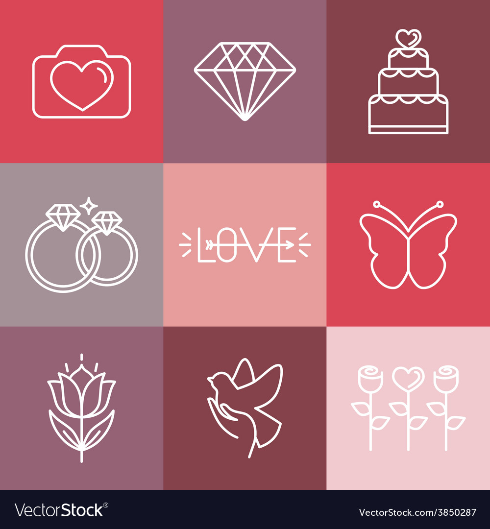 Wedding and engagement line logos and icons vector | Price: 1 Credit (USD $1)