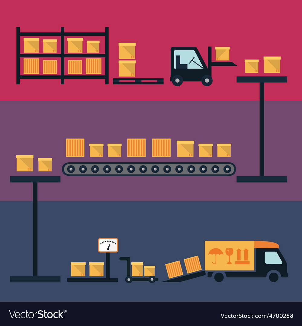 Cargo and delivery shipping process icons vector | Price: 1 Credit (USD $1)