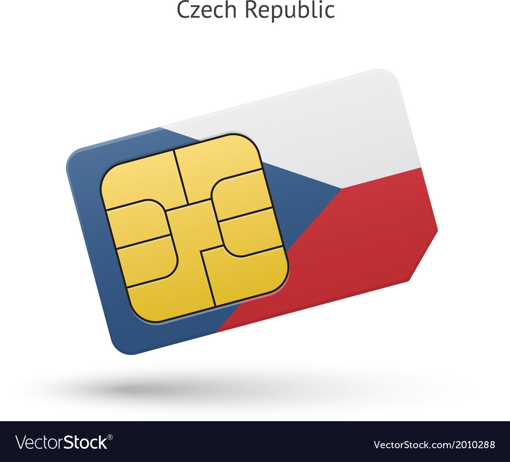 Czech republic mobile phone sim card with flag vector   Price: 1 Credit (USD $1)