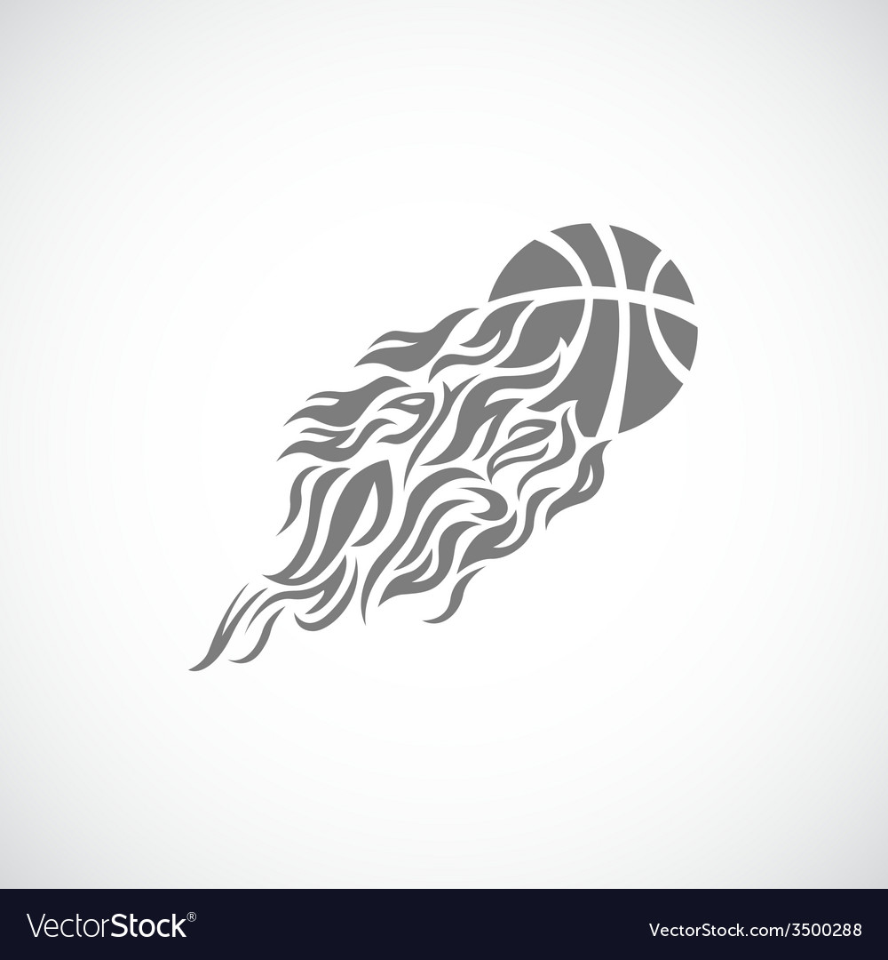 Flame fire ball grey basketball symbol icon vector | Price: 1 Credit (USD $1)