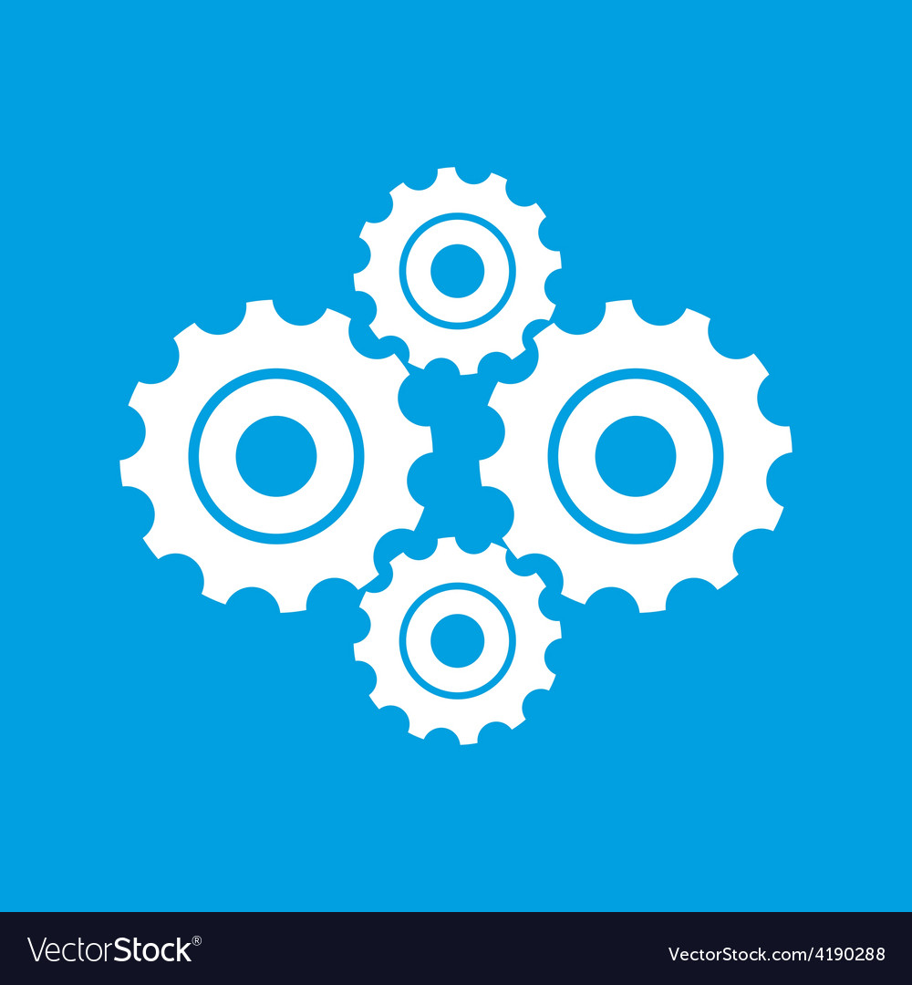 Mechanism white icon vector | Price: 1 Credit (USD $1)