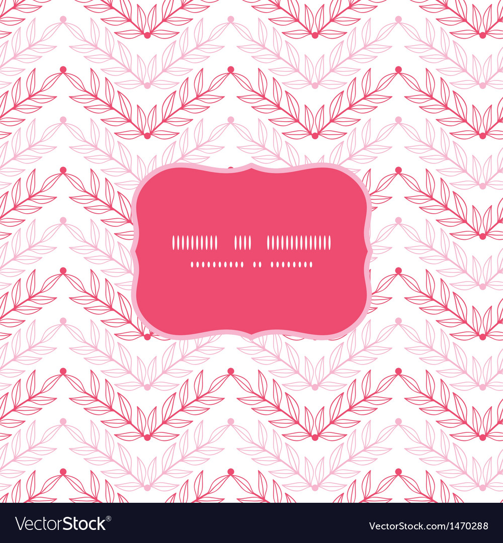Pink lineart leaves chevron frame seamless pattern vector | Price: 1 Credit (USD $1)