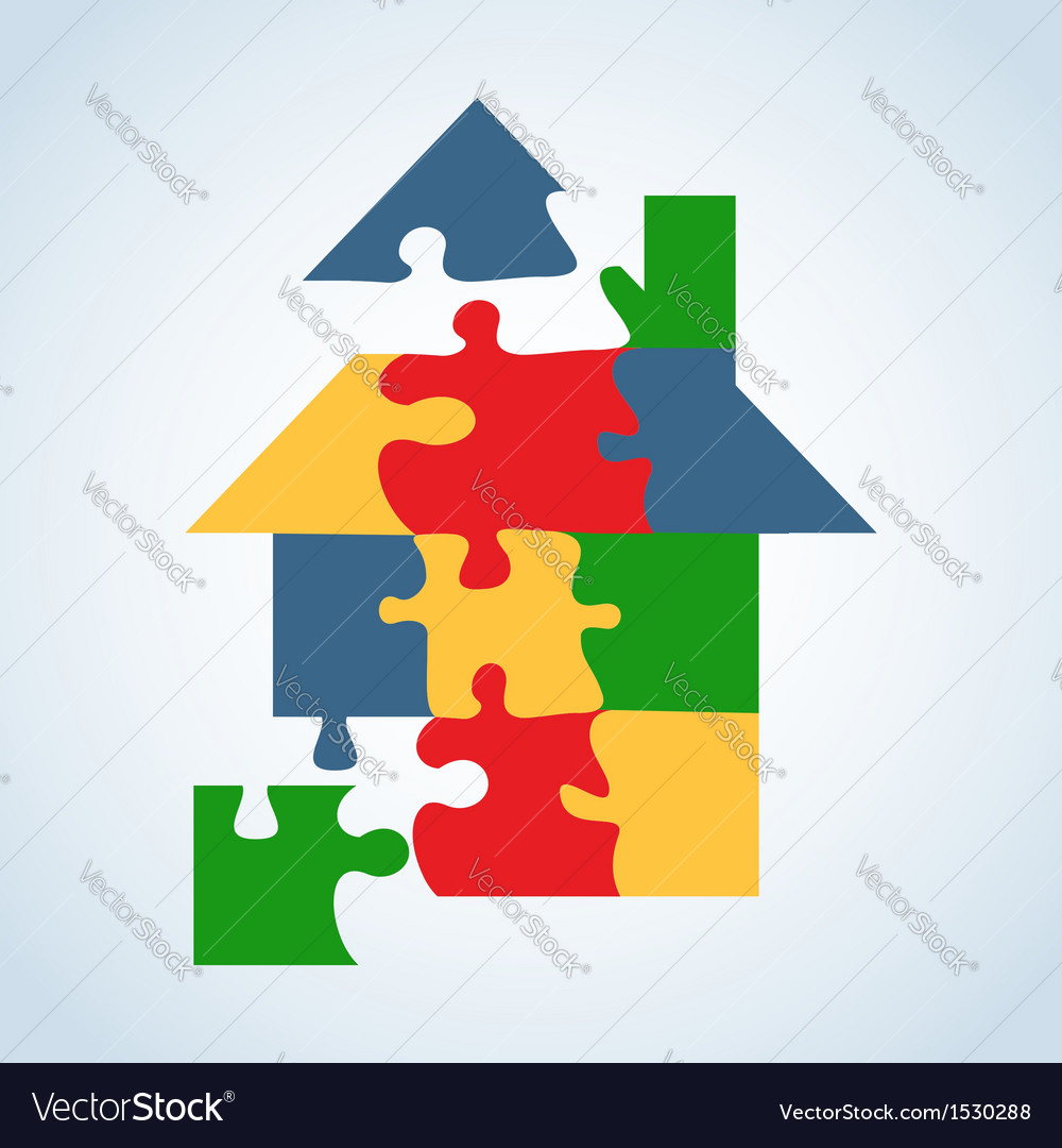 Real estate icon set jigaw shape vector | Price: 1 Credit (USD $1)