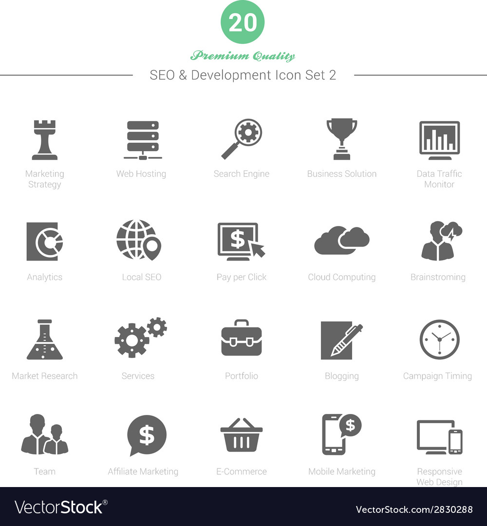 Set of seo and development icons set 2 vector | Price: 1 Credit (USD $1)