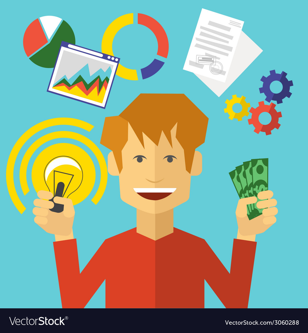 Smiling man holding glowing lightbulb and dollars vector   Price: 1 Credit (USD $1)