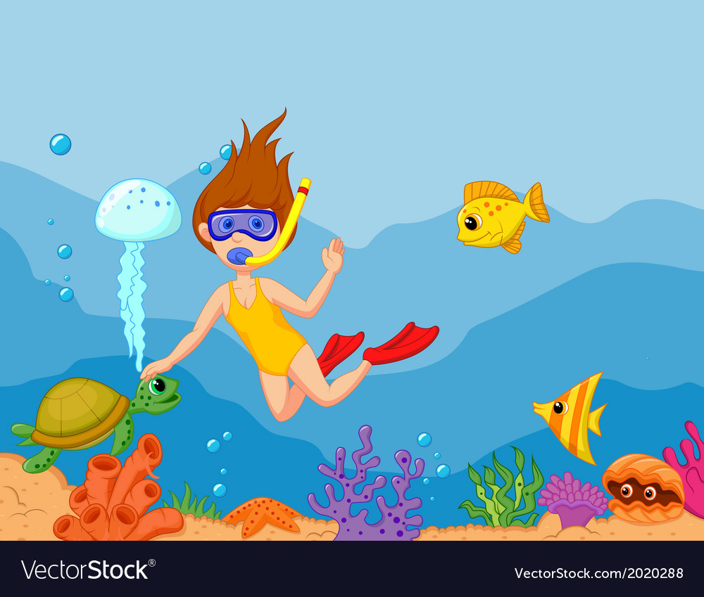 Snorkeling girl cartoon vector | Price: 1 Credit (USD $1)