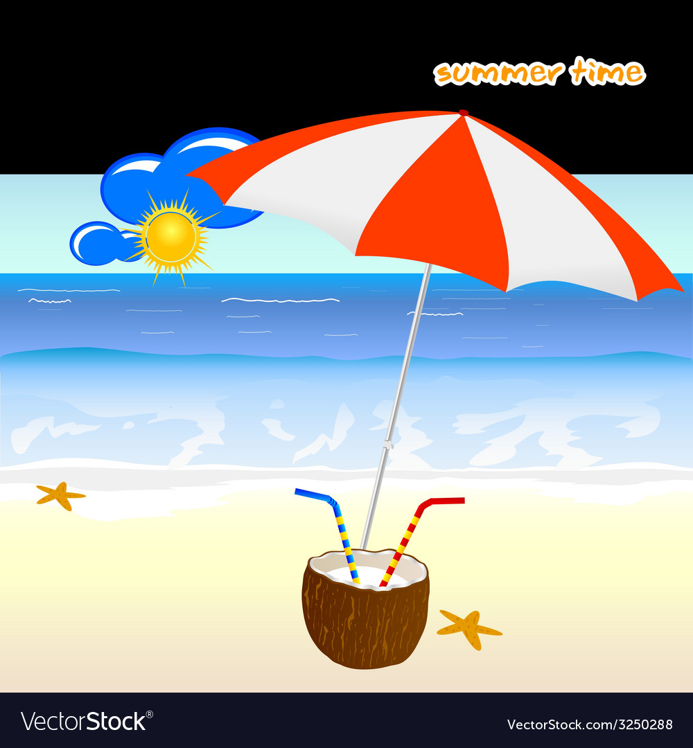 Summer time with coconut art vector | Price: 1 Credit (USD $1)
