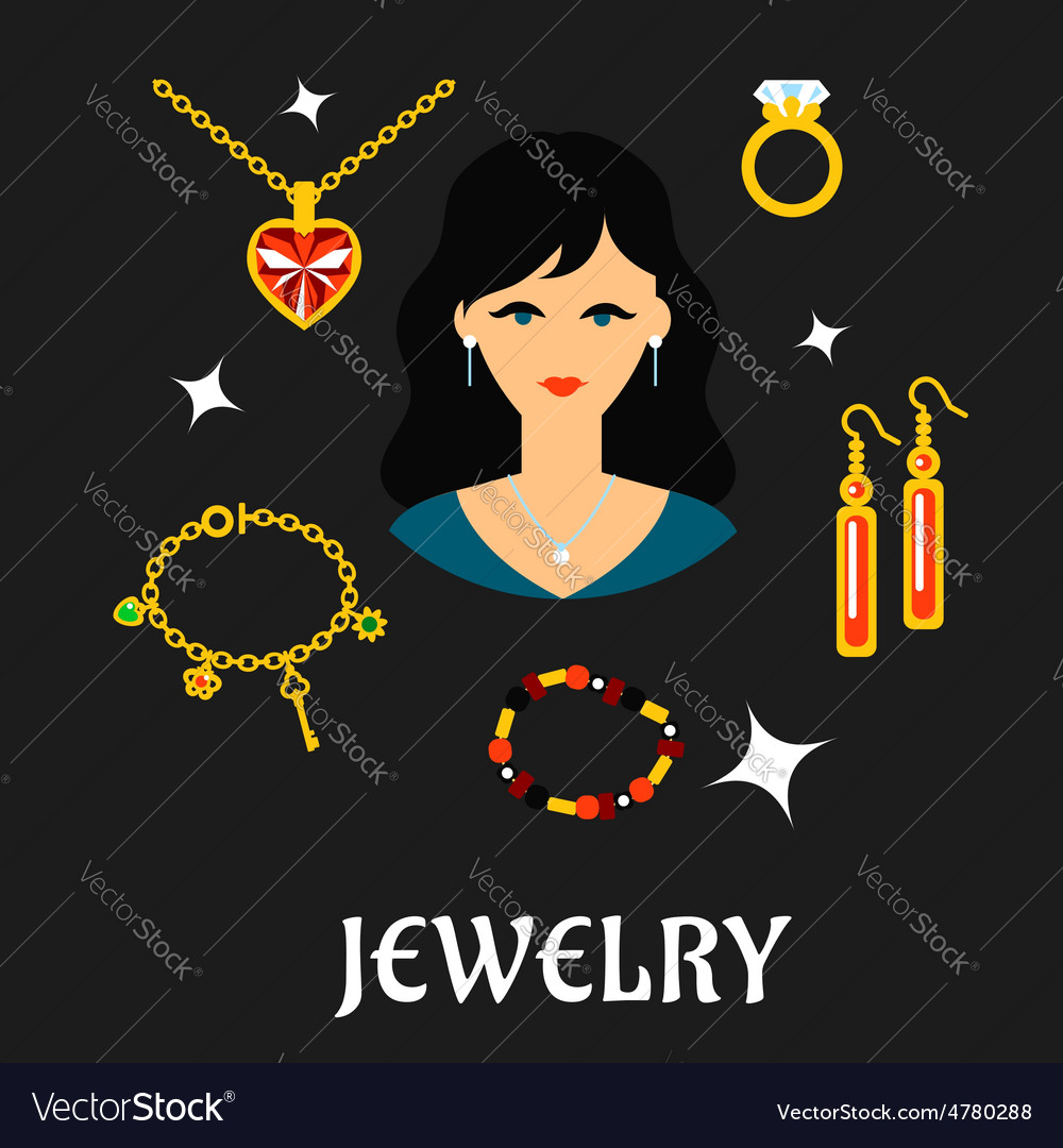 Woman with jewels and gold in flat style vector