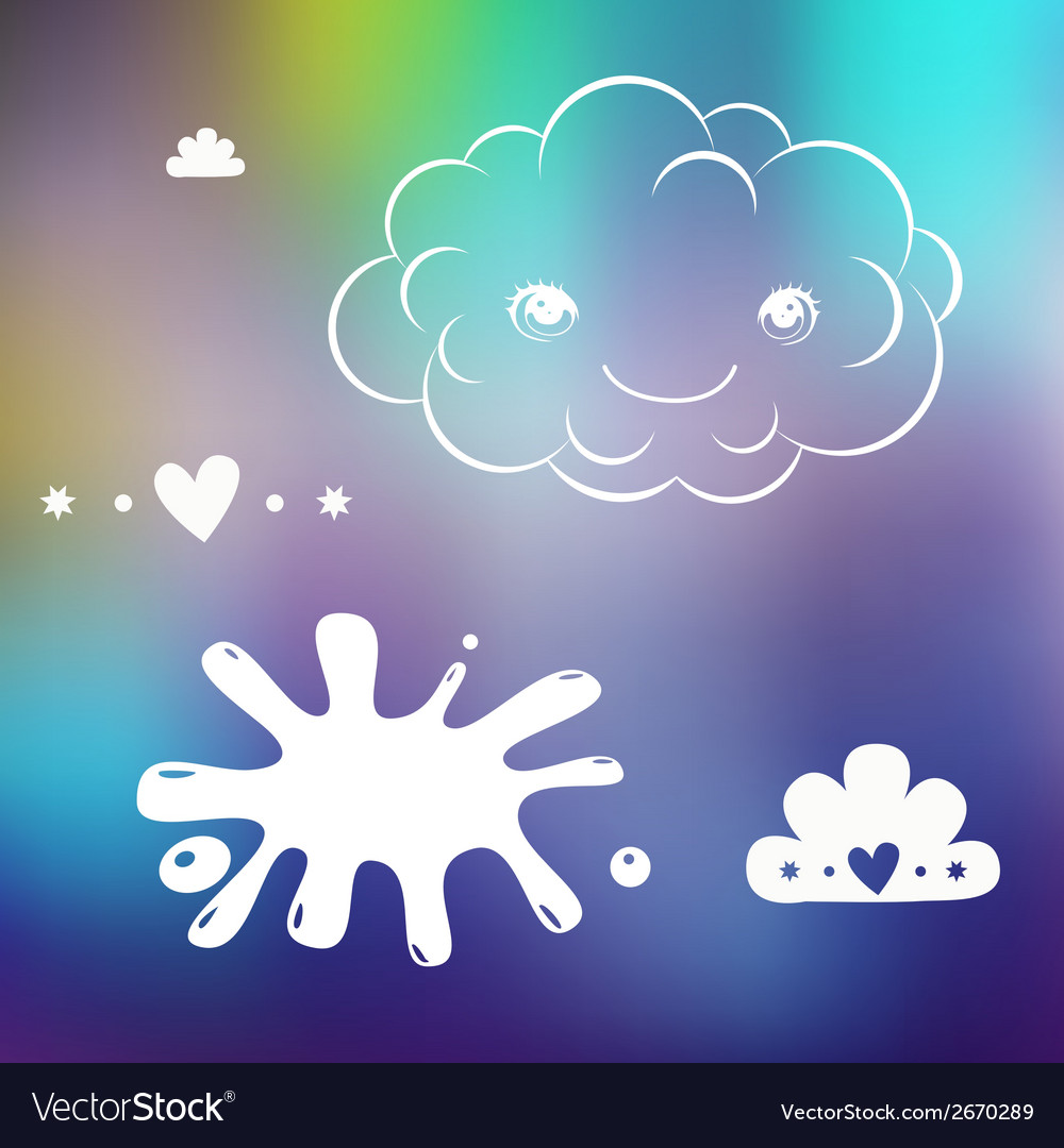 Cute designs on blurred background vector | Price: 1 Credit (USD $1)