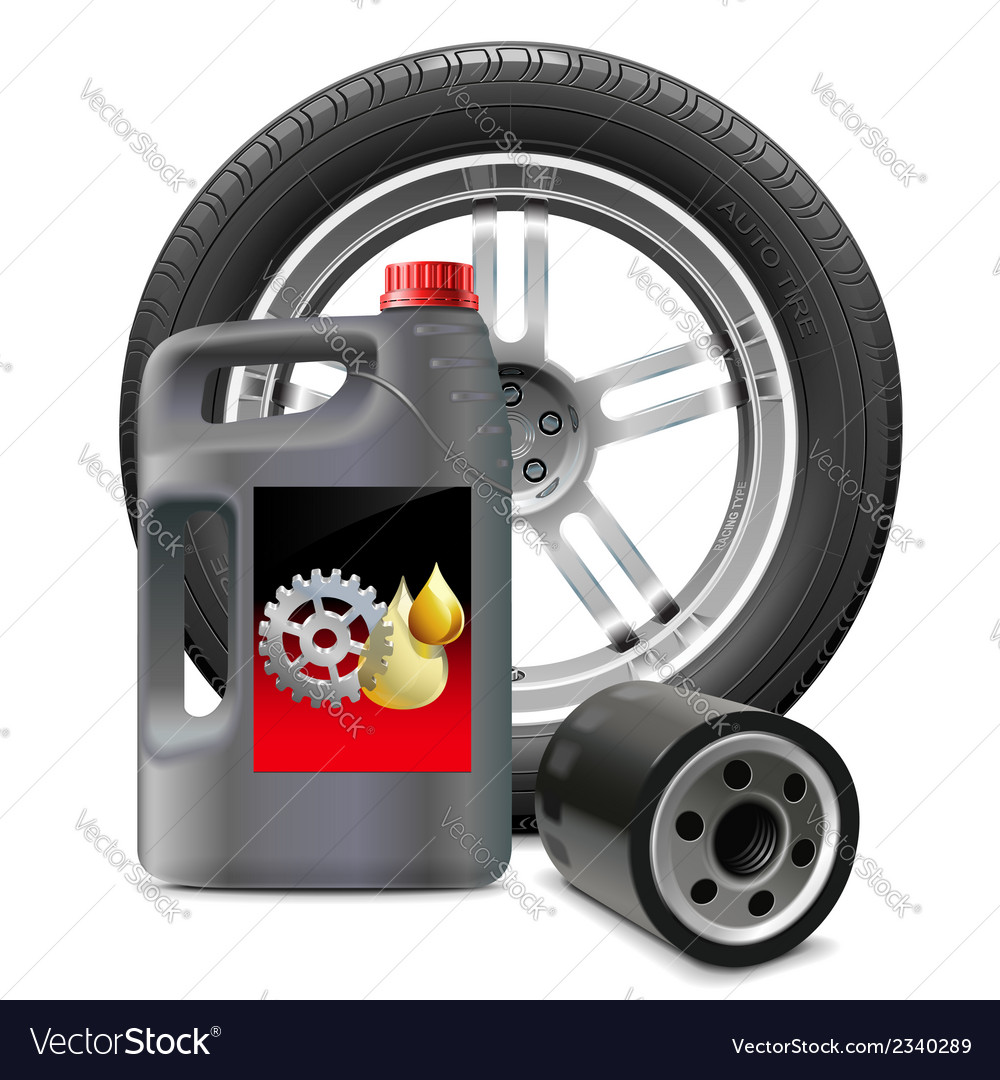 Engine oil with oil filter and tire vector | Price: 1 Credit (USD $1)