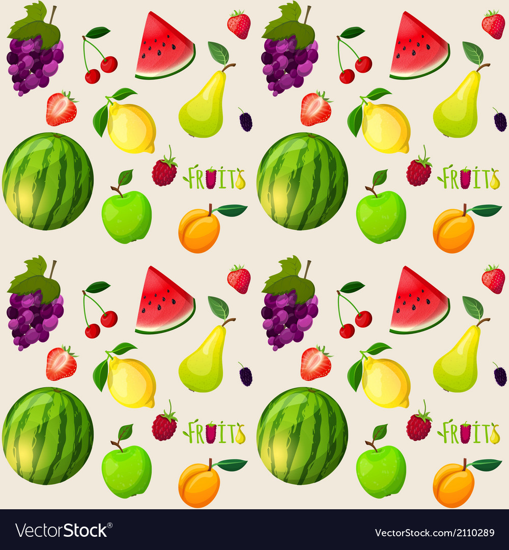 Fresh fruits seamless pattern vector | Price: 1 Credit (USD $1)