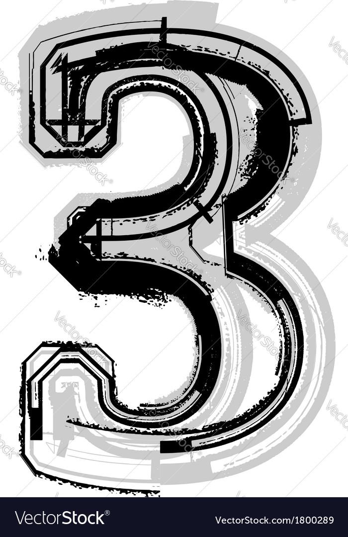 Grunge font number 3 vector | Price: 1 Credit (USD $1)