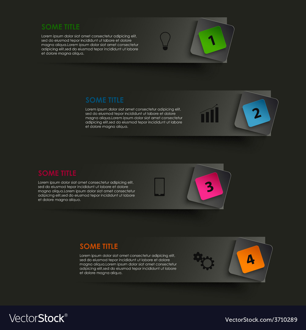 Info graphic striped with colored pointer on black vector   Price: 1 Credit (USD $1)