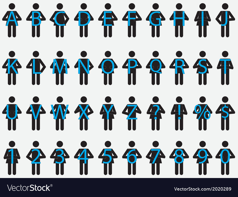 Pictogram people holding letters vector | Price: 1 Credit (USD $1)