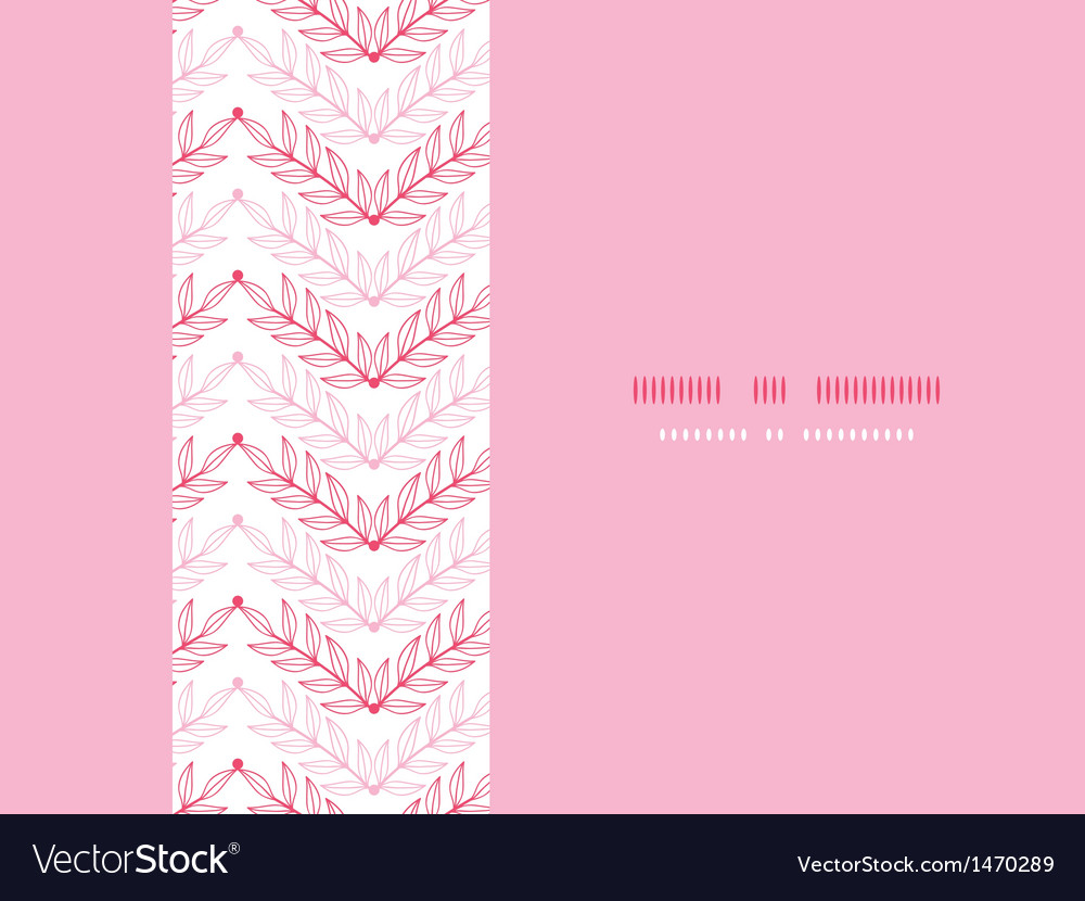 Pink lineart leaves chevron horizontal seamless vector | Price: 1 Credit (USD $1)