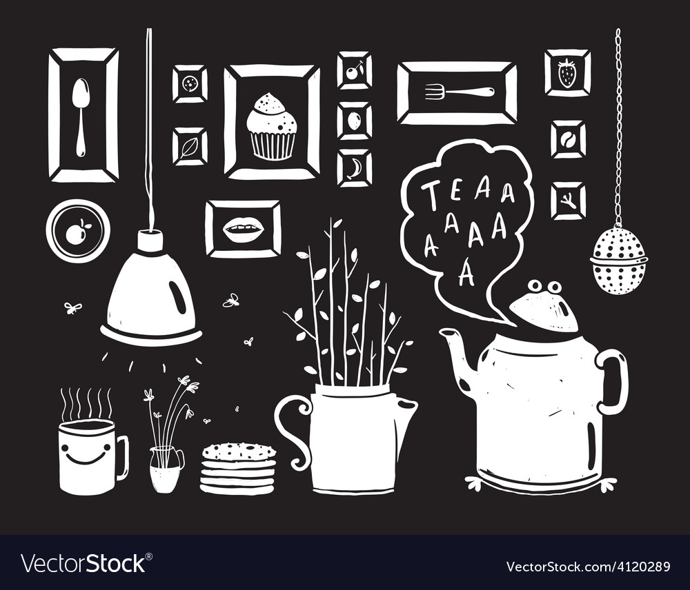 Teapot lamp vase kitchen still life art frames on vector | Price: 1 Credit (USD $1)