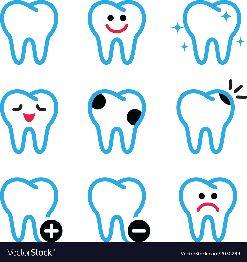 Tooth teeth icons set in color vector
