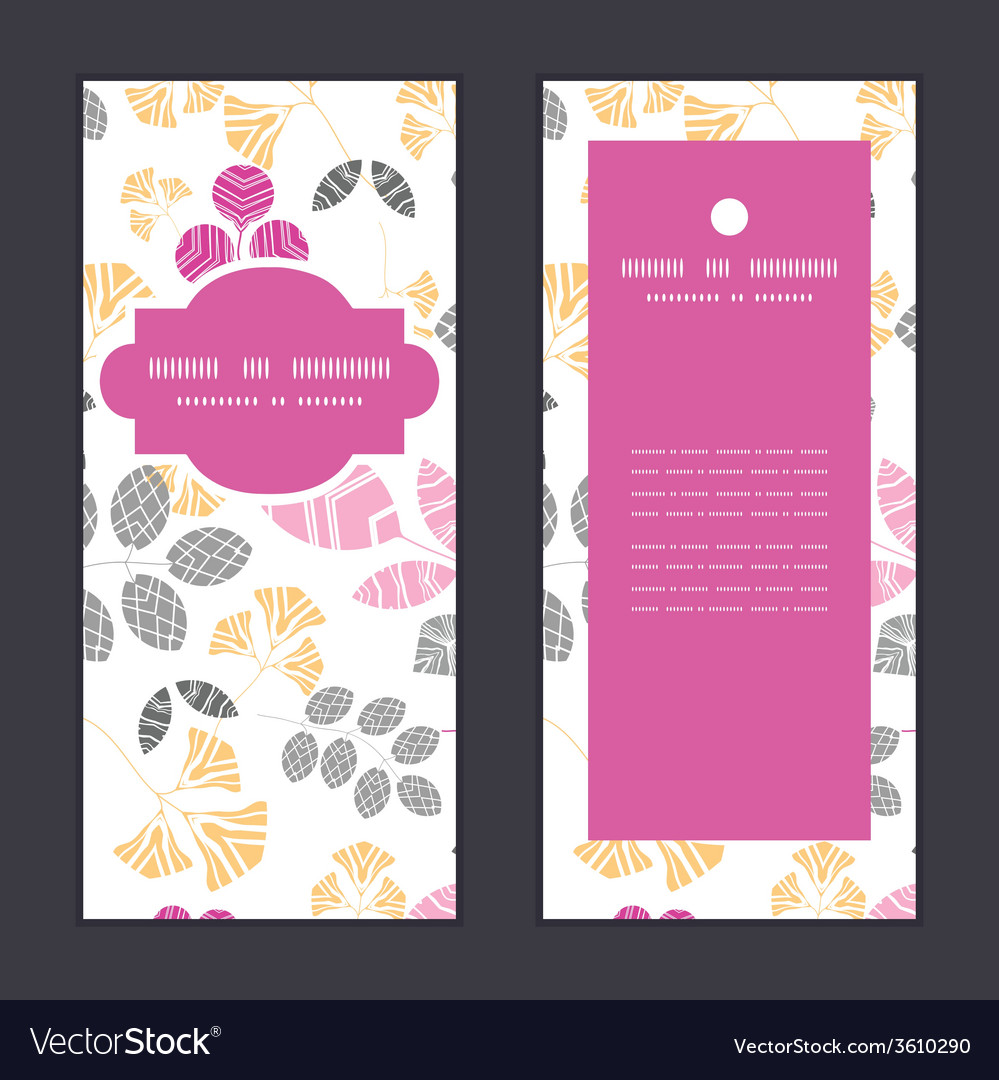 Abstract pink yellow and gray leaves vertical vector | Price: 1 Credit (USD $1)