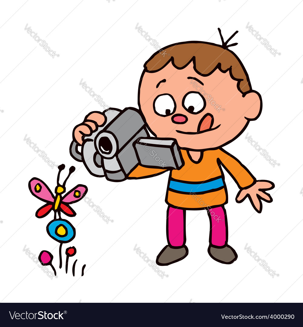 Boy filming a butterfly vector | Price: 1 Credit (USD $1)