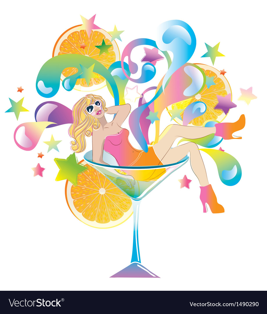 Cocktail girl vector | Price: 3 Credit (USD $3)