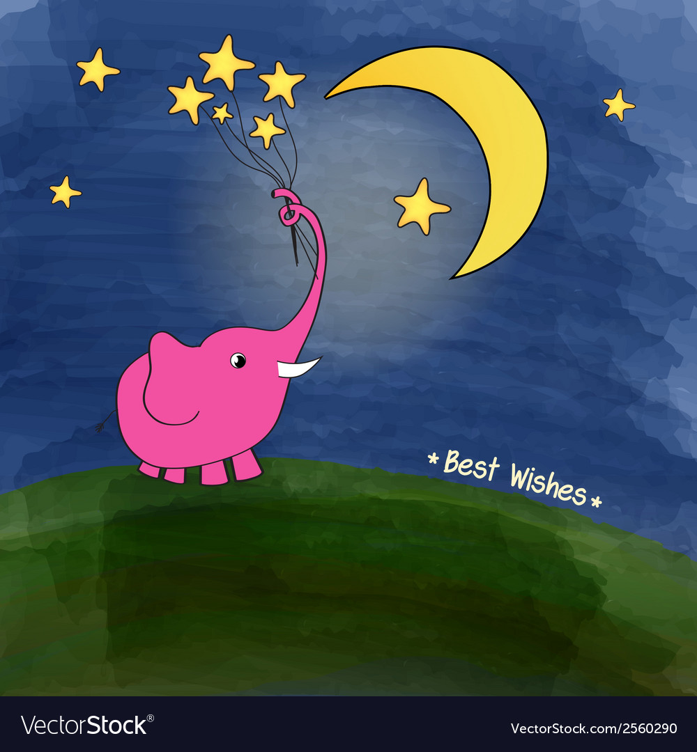 Cute pink elephant with a bouquet of stars vector | Price: 1 Credit (USD $1)