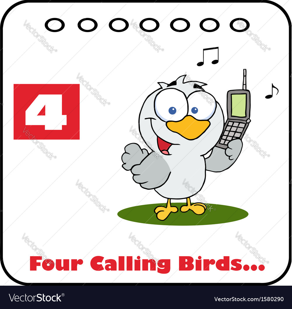 Four calling birds cartoon vector | Price: 1 Credit (USD $1)
