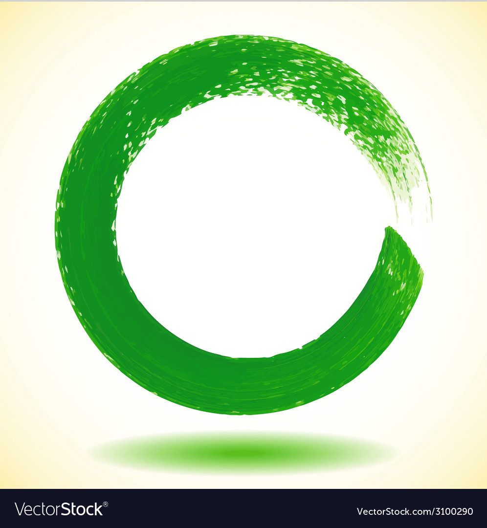 Green paintbrush circle frame vector | Price: 1 Credit (USD $1)