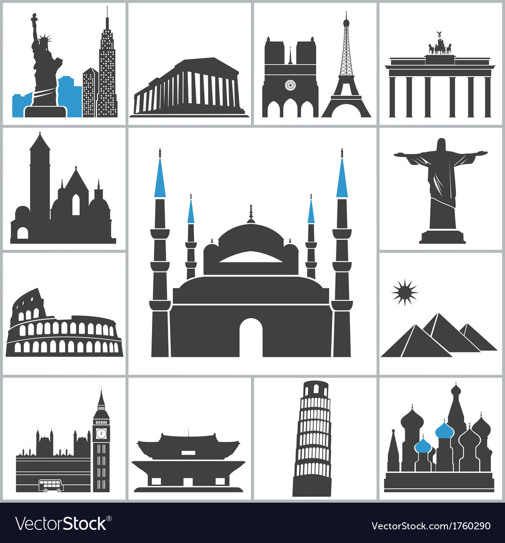 Landmark travel icons vector | Price: 1 Credit (USD $1)