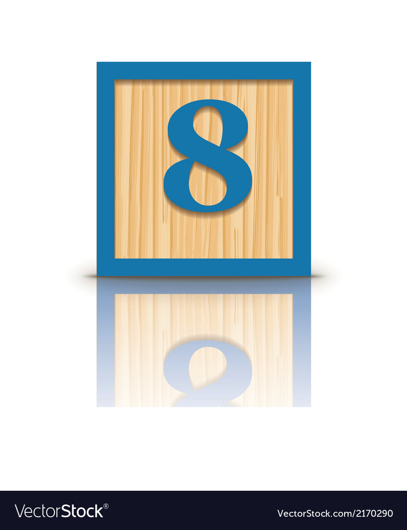 Number 8 wooden alphabet block vector | Price: 1 Credit (USD $1)