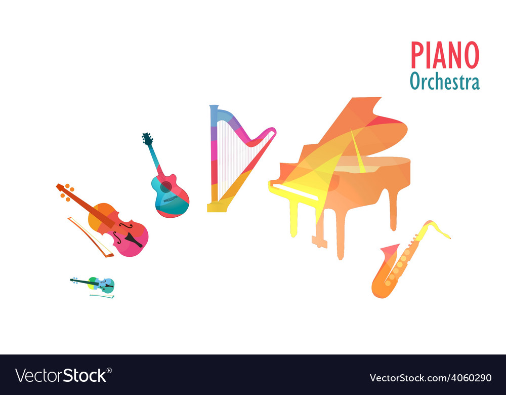 Piano orchestra set of music instruments vector | Price: 1 Credit (USD $1)