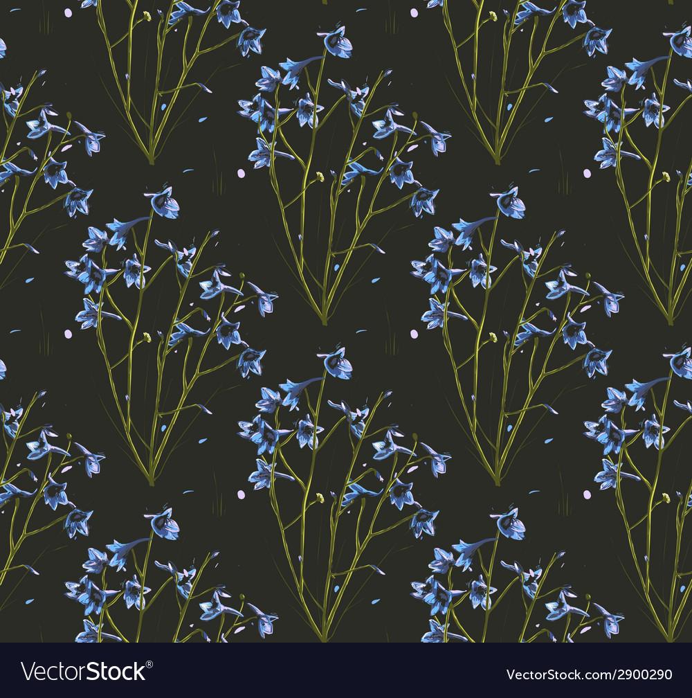 Romantic wild flowers on black seamless pattern vector | Price: 1 Credit (USD $1)