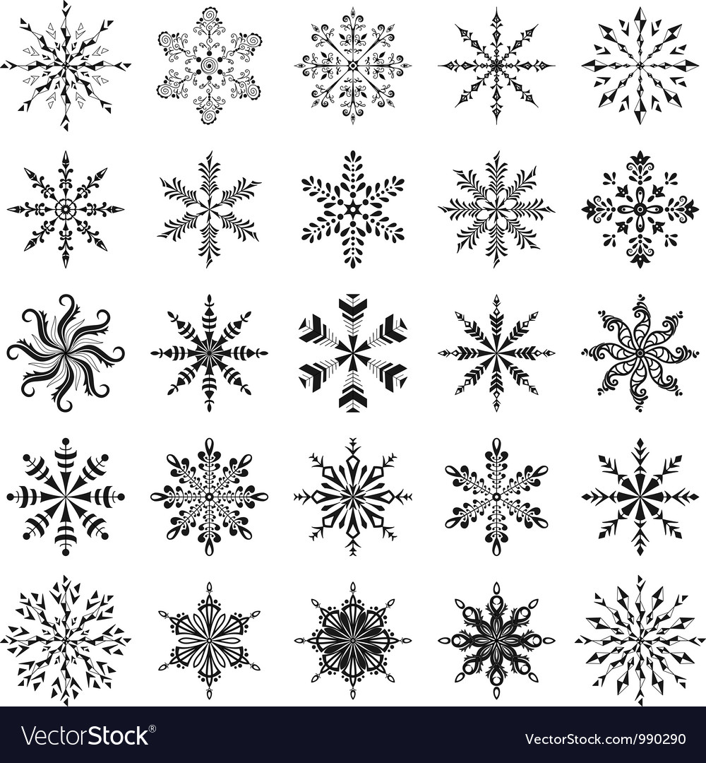 Snowflakes outline set vector | Price: 1 Credit (USD $1)
