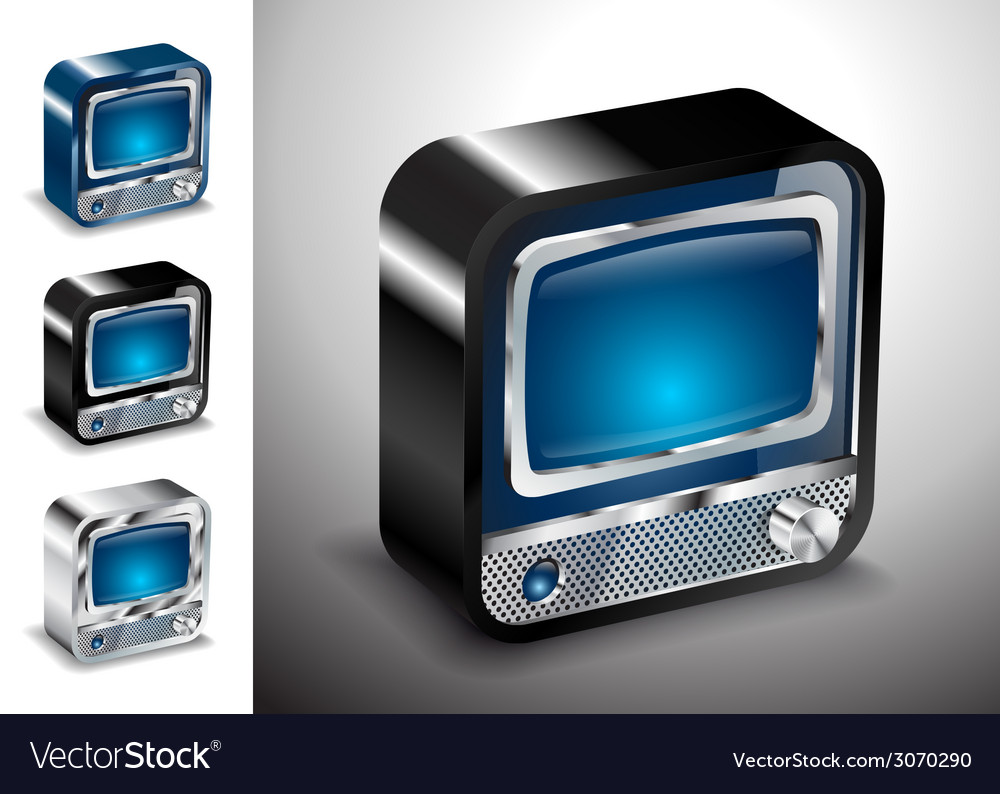 Tv icon button television electronics vector | Price: 1 Credit (USD $1)