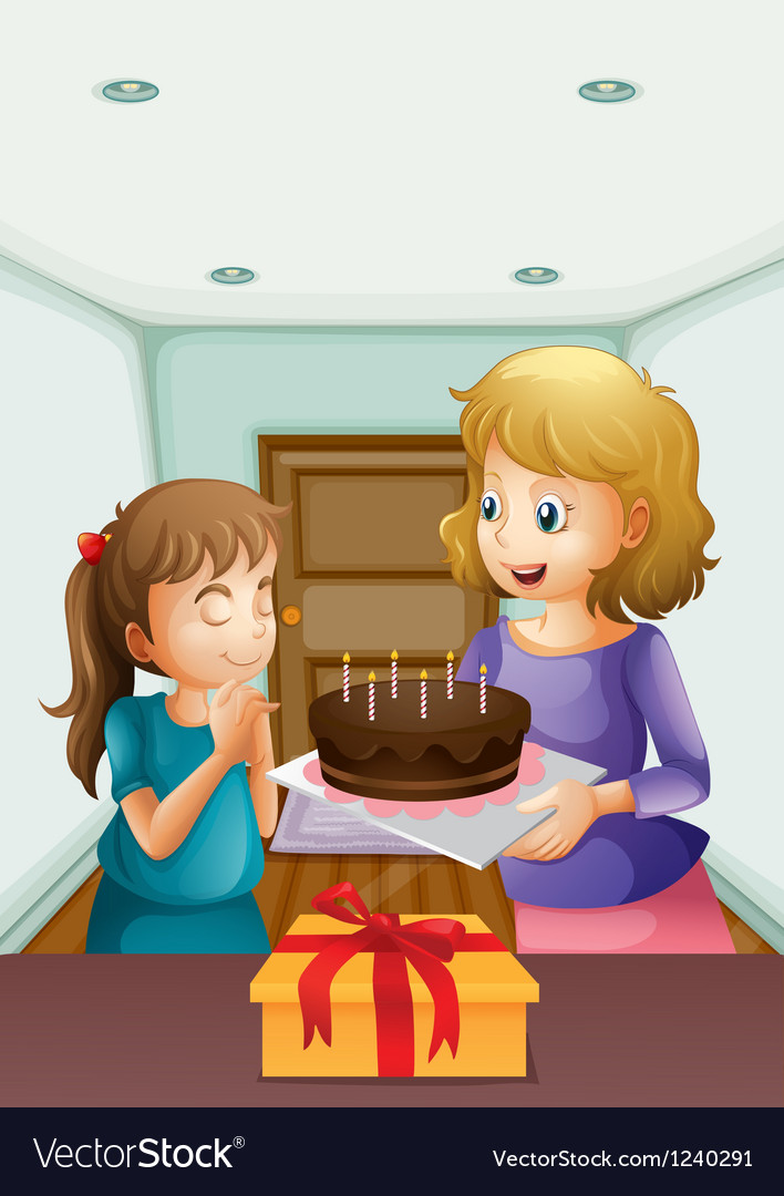 A girl wishing before blowing her birthday cake vector | Price: 1 Credit (USD $1)