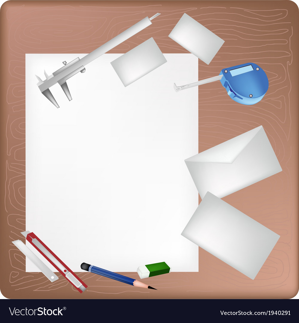 Architect tools lying on a blank page and envelope vector | Price: 1 Credit (USD $1)