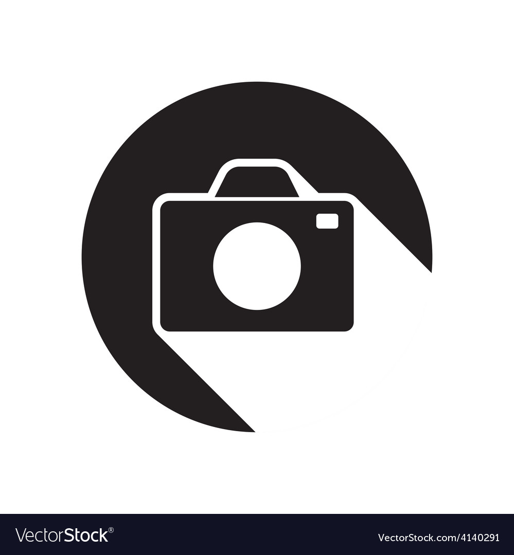 Black icon with camera and stylized shadow vector | Price: 1 Credit (USD $1)