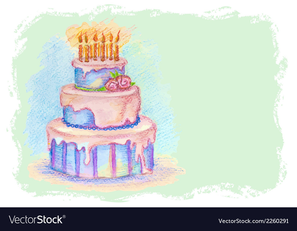 Card with hand drawn birthday cake vector | Price: 1 Credit (USD $1)