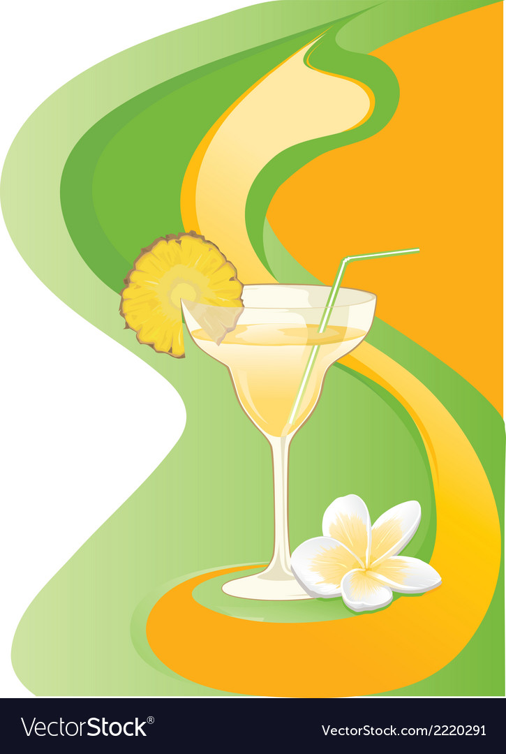 Cocktail card with ananas and plumeria vector | Price: 1 Credit (USD $1)