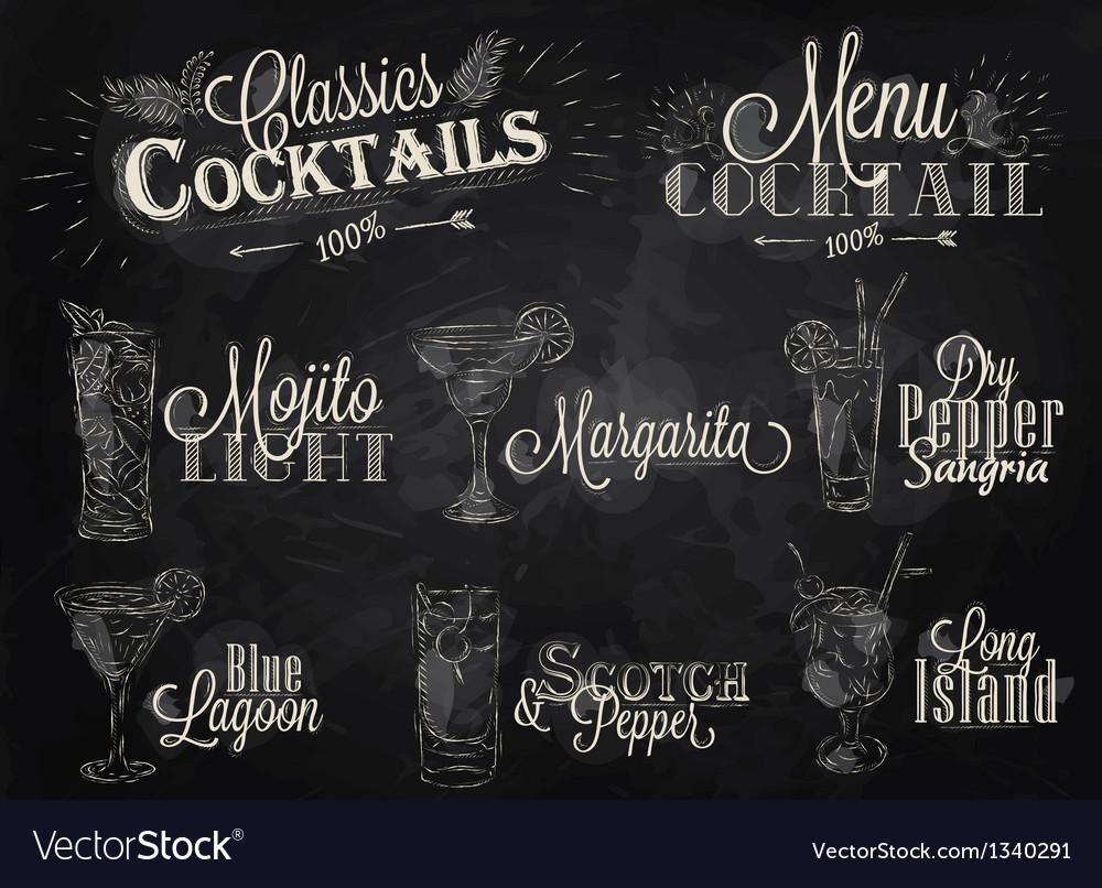 Cocktails chalk vector   Price: 3 Credit (USD $3)