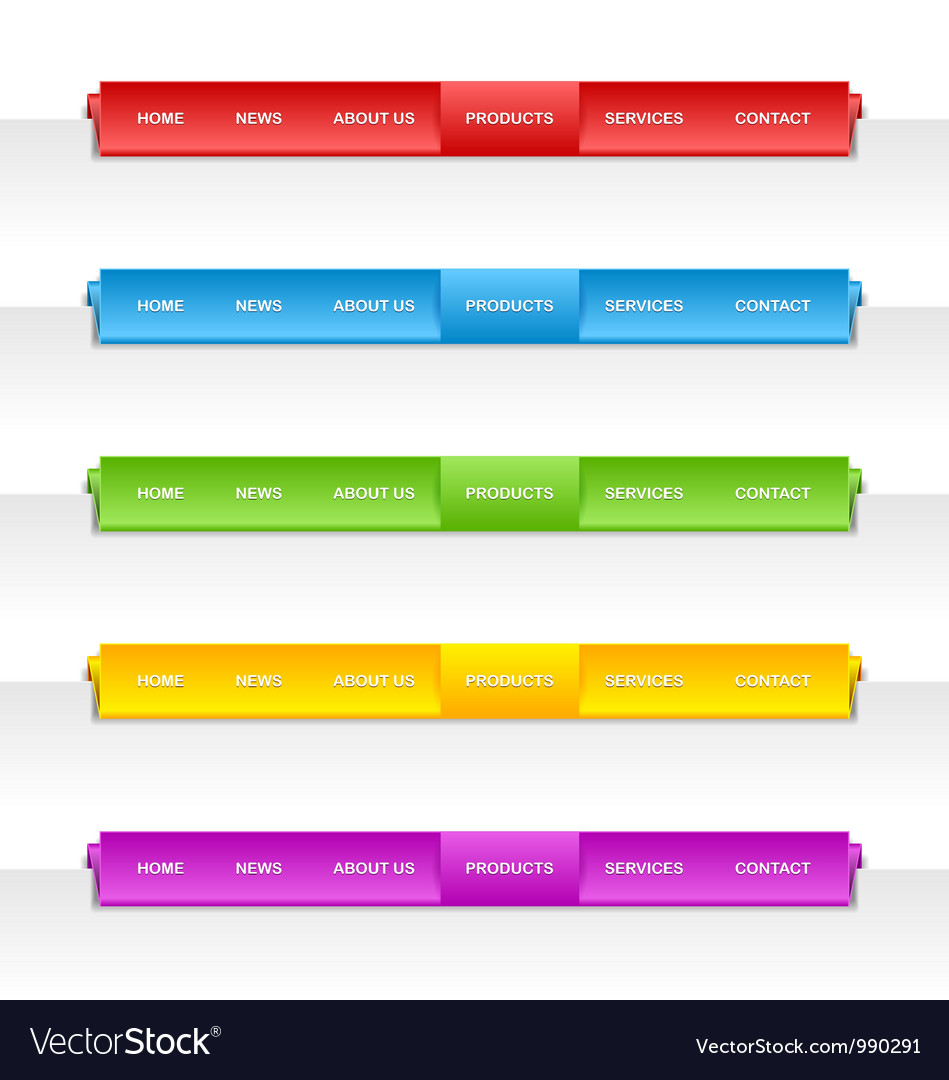 Colorful folded paper navigation menu vector | Price: 1 Credit (USD $1)