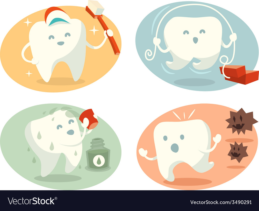 Cute tooth in different situations vector | Price: 1 Credit (USD $1)