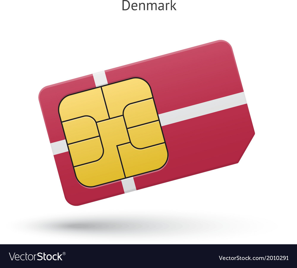 Denmark mobile phone sim card with flag vector | Price: 1 Credit (USD $1)