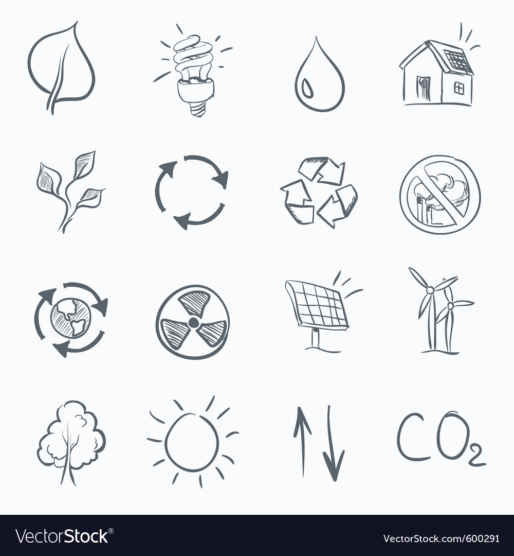 Eco sketch icon set vector | Price: 1 Credit (USD $1)