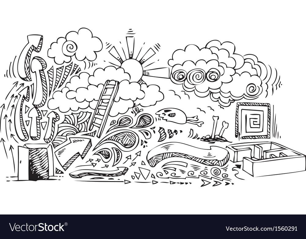 Open door sketchy doodles vector | Price: 1 Credit (USD $1)
